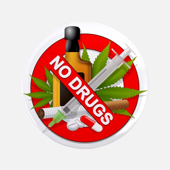 """No Drugs 3.5"""" Button (100 pack)"""