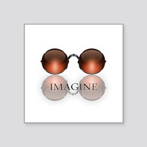round glasses blk Sticker