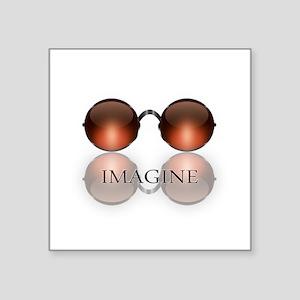 round glasses blk Sticker