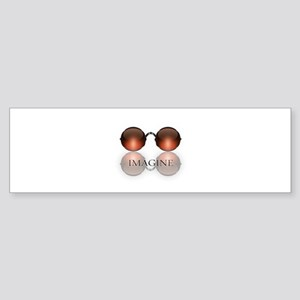 round glasses blk Bumper Sticker