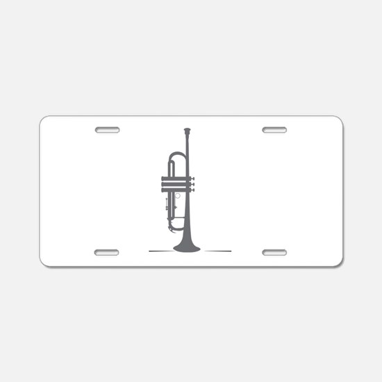Upright Trumpet Aluminum License Plate