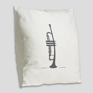Upright Trumpet Burlap Throw Pillow