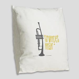 Trumpet Man Burlap Throw Pillow
