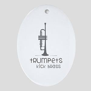 Trumpets Kick Brass Ornament (Oval)