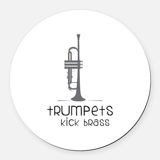 Trumpets Kick Brass Round Car Magnet