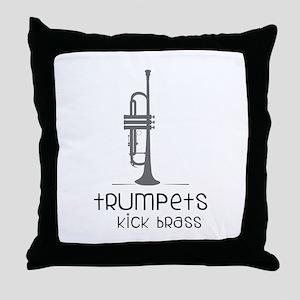 Trumpets Kick Brass Throw Pillow