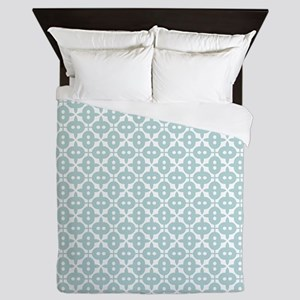 Mint and White Tile Pattern Queen Duvet