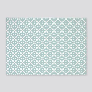 Mint and White Tile Pattern 5'x7'Area Rug
