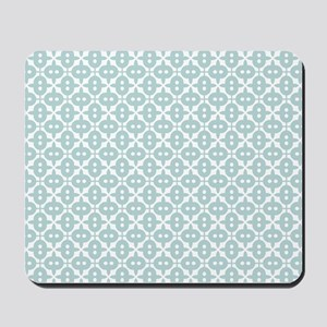 Mint and White Tile Pattern Mousepad