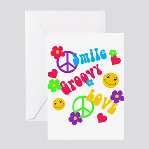 smile groovy love Greeting Cards