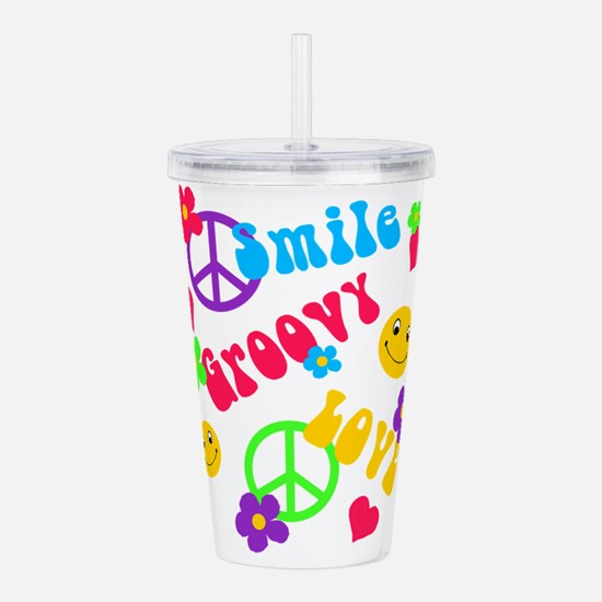 Cute Peace love hippie Acrylic Double-wall Tumbler