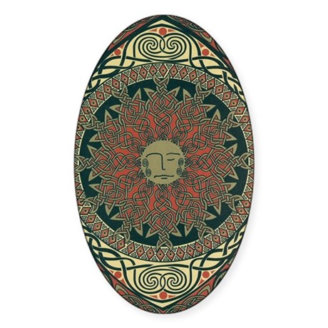 Sun and Moon Symbolism Oval Sticker