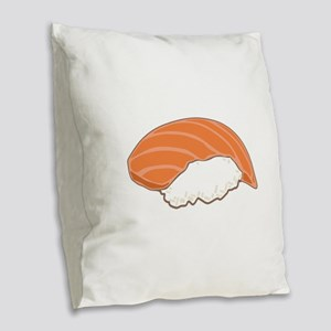 Salmon Sushi Burlap Throw Pillow