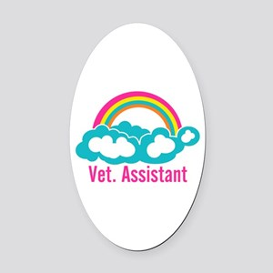 Rainbow Veterinary Assistant Oval Car Magnet