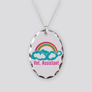 Rainbow Veterinary Assistant Necklace Oval Charm