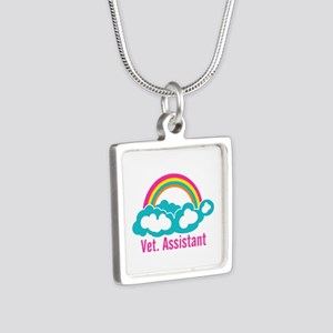 Rainbow Veterinary Assista Silver Square Necklace