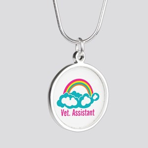 Rainbow Veterinary Assistant Silver Round Necklace
