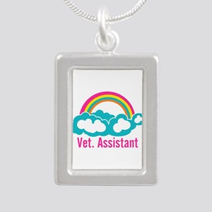 Rainbow Veterinary Assis Silver Portrait Necklace