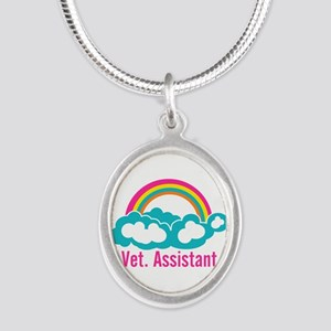 Rainbow Veterinary Assistant Silver Oval Necklace