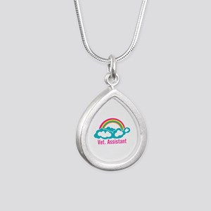 Rainbow Veterinary Assis Silver Teardrop Necklace