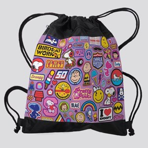 Peanuts Flair Collage Purple Drawstring Bag