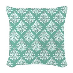 Damask green white Woven Throw Pillow