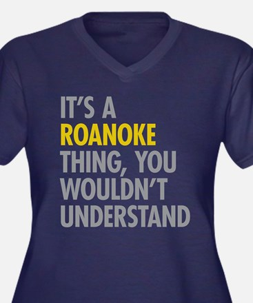 Its A Roanok Women's Plus Size V-Neck Dark T-Shirt