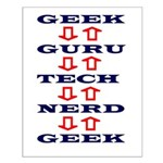 Geek Guru Navy and Red Design Small Poster