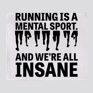 Running is a mental sport Throw Blanket