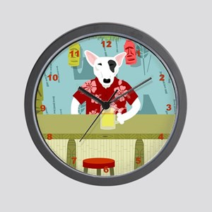 English Bull Terrier Tiki Bar Wall Clock