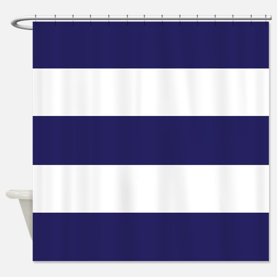 Nautical Navy Blue Stripes Shower Curtain