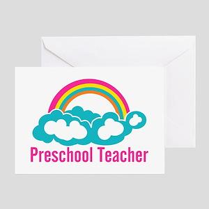 Preschool Teacher Rainbow Cloud Greeting Card