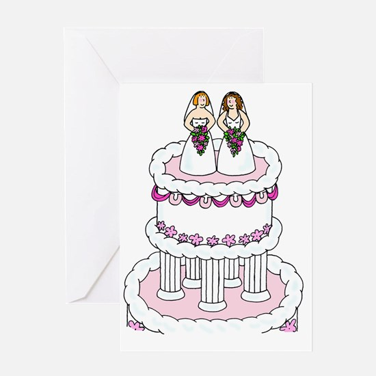 Two brides on a wedding cake. Greeting Cards