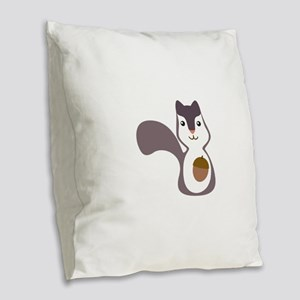 Squirrel With Nut Burlap Throw Pillow