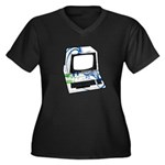 Old School Computer Women's Plus Size V-Neck Dark
