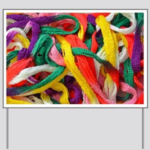 Colorful strands of yarn Yard Sign