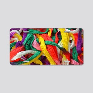 Colorful strands of yarn Aluminum License Plate