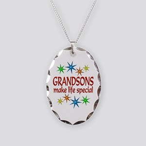 Special Grandson Necklace Oval Charm
