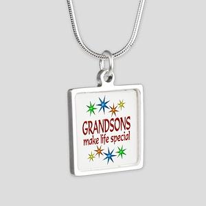 Special Grandson Silver Square Necklace