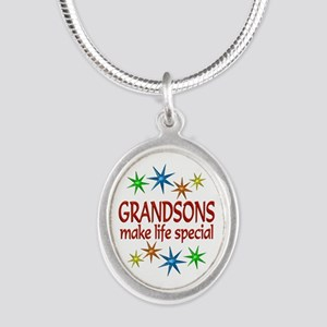 Special Grandson Silver Oval Necklace
