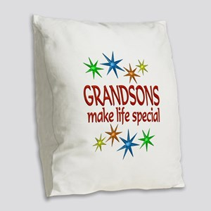 Special Grandson Burlap Throw Pillow