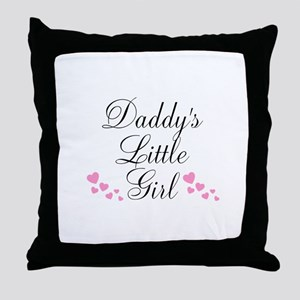 Daddys Little Girl Pink Hearts Throw Pillow
