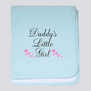 Daddys Little Girl Pink Hearts baby blanket
