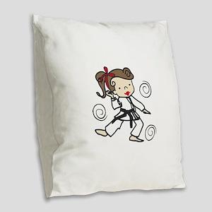 Karate Girl Burlap Throw Pillow