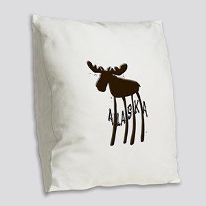 Alaska Moose Burlap Throw Pillow
