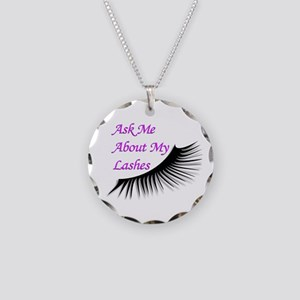 Ask Me About My Lashes Necklace Circle Charm