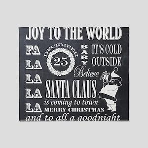 vintage holiday chalkboard art Throw Blanket