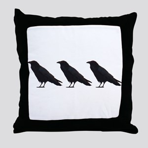 Black Crows Throw Pillow