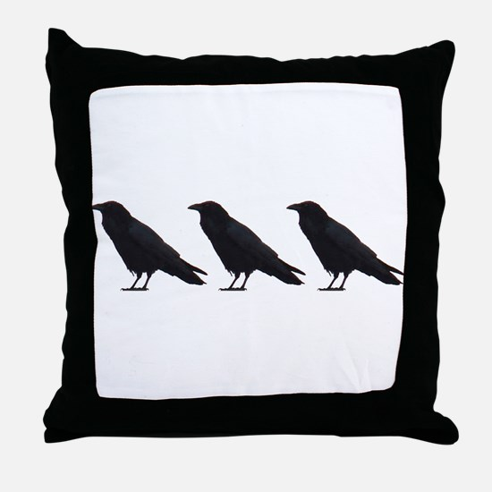 Black Crows Throw Pillow