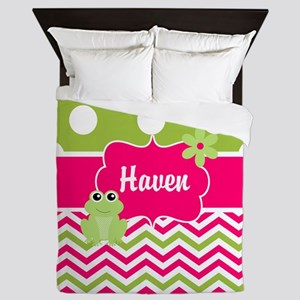 Pink Green Frog Personalized Queen Duvet